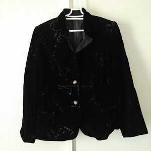 フローリッチ Lサイズ ベロア テーラード ジャケット 花 フラワー 装飾 ボタン FROHLICH フォーマル オフィス 婦人服 上品