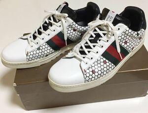 GUCCI 東京限定 ハニカム柄 スニーカー 9 + ホワイト グッチ TOKYO Exclusive Sneakers エクスクルーシブ ローカット レザー シェリー 白
