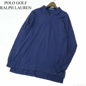 POLO GOLF RALPH LAUREN ポロ ゴルフ ラルフローレン ハーフジップ ボーダー 長袖 ポロシャツ Sz.LL メンズ 大きい 日本製 A1T08541_7#C