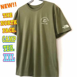 アウトドア系☆ 新品 ノースフェイス キャンプ Tシャツ オリーブ XXL 3L 2XL 日本未発 ビッグサイズ 可愛い ワンポイント テント シンプル
