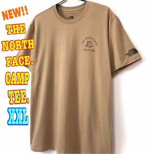 テント系☆ 新品 ノースフェイス キャンプ Tシャツ ケルプタン XXL 3L 2XL 日本未発売 ナチュラル US ワンポイント テント シンプル カーキ