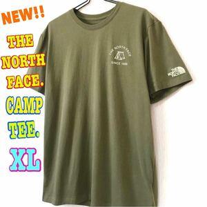 アウトドア系 ☆ 新品 ノースフェイス キャンプ Tシャツ オリーブ XL LL 日本未発売 モスグリーン 可愛い ワンポイント テント シンプル