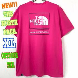 レアモデル♪ ノースフェイス アウトドア Tシャツ EU ピンク XL LL 日本未発売 ビッグロゴ スクエア BOX EU UK 海外限定 ユニセックス 人気