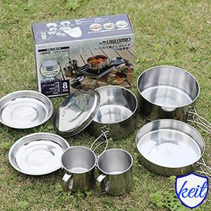 キャンプ 食器 キャンプクッカーセット 調理セット 登山用鍋 食器 ポータブル キャンピング鍋 花見用食器