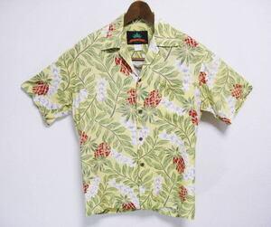 80s Pineapple Juice パイナップルジュース USA製 パイナップル柄 アロハシャツ S ハワイアン ビンテージ .