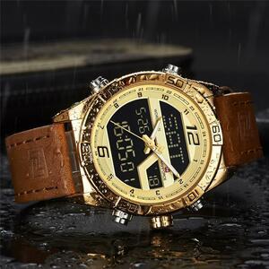 【中古売ります】【最安値に挑戦】NAVIFORCE 高級革スポーツ腕時計男性防水ミリタリークォーツデジタル時計レロジオ Masculino