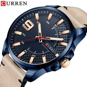 【中古売ります】【最安値に挑戦】ブランド男性の革のビジネスcurrenファッションクォーツ男性軍事腕時計メンズ時計レロジオmasculino