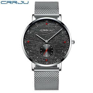 【中古品販売】【安く買えます!】crrjuメンズ腕時計クラシックビジネススリムクォーツ時計防水鋼メッシュ時計レロジオmasculino