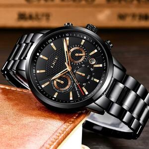 【中古売ります】【最安値に挑戦】Ligeビジネスクォーツメンズミリタリースポーツ防水ドレス腕時計黒レロジオmasculino