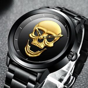 【中古売ります】【最安値に挑戦】Lige skeletoカジュアル3Dスカルフル鋼防水軍事スポーツ男性クォーツ腕時計レロジオmasculino