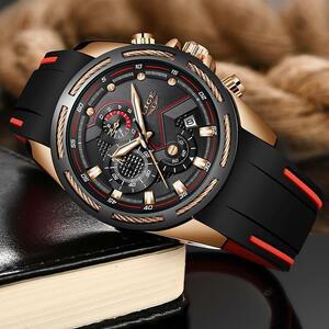 【中古売ります】【最安値に挑戦】Ligeファッションメンズ高級シリコンスポーツ腕時計メンズクォーツ日付時計防水腕時計レロジオmasculino