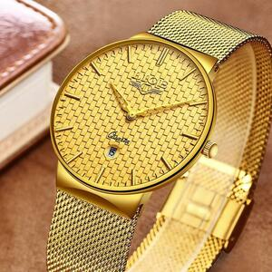 【中古売ります】【最安値に挑戦】レロジオmasculino ligeファッションメンズ腕時計高級超薄型クォーツ時計鋼メッシュストラップ防水金時計
