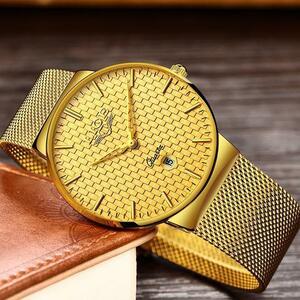 【中古売ります】【最安値に挑戦】Ligeファッションメンズ腕時計高級超薄型クォーツ時計鋼メッシュストラップ防水金時計レロジオmasculino