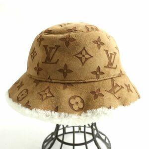 美品□LOUIS VUITTON ルイヴィトン M76576 シャポー モノグラム シアリング バケットハット/帽子 ブラウン 58 イタリア製 正規品
