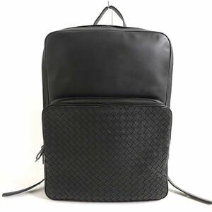 未使用品▽ボッテガヴェネタ 498976 イントレチャート オールレザー バックパック/リュック ブラック イタリア製 保存袋付き メンズ