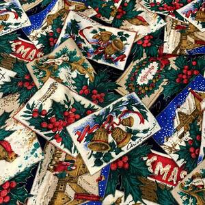 布D(40)D154/ クリスマス柄 AV..P Print By JOAN MESSMORE Cranston Print Works 巾約110×40cm前後 カットクロス USAコットン LAST
