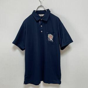 adabat アダバット メンズ ゴルフウェア 半袖ポロシャツ ネイビー 紺 日本製 サイズ48 L 美品