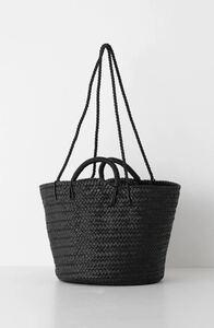 即完売 希少 Aeta アエタ LEATHER BASKET M + SHOULDER BLACK 黒 編みバッグ かごバック カゴバッグ トートバッグ 小物入れ