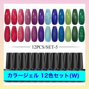 新品 カラージェル 12色セット (W) ラメカラー カラフル ネイル ジェル