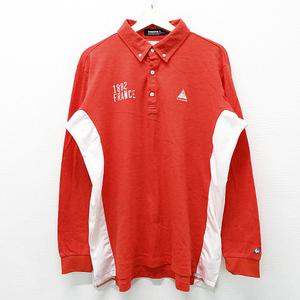 【即決】Lecoq golf ルコックゴルフ ボタンダウン長袖ポロシャツ レッド系 LL [240001527394] ゴルフウェア メンズ