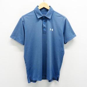 【即決】UNDER ARMOUR アンダーアーマー 半袖ポロシャツ ボーダー ブルー系 MD [240001531647] ゴルフウェア メンズ