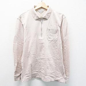 【即決】LANVIN SPORT ランバン スポール 長袖ポロシャツ ハーフジップ 千鳥 ベージュ系 40 [240001505991] ゴルフウェア メンズ