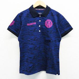 ADMIRAL アドミラル 半袖 ポロシャツ 迷彩柄 カモフラ ブルー系 M [240001507998] ゴルフウェア レディース