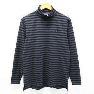 Lecoq golf ルコックゴルフ ハイネック長袖Tシャツ ボーダー柄 グレー系 M [240001521783] ゴルフウェア メンズ