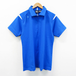 DESCENTE GOLF デサントゴルフ中田英寿 ハーフジップ 半袖 ポロシャツ ブルー系 O [240001522342] ゴルフウェア メンズ