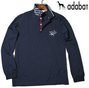 新品ラス1 52 3L 定価¥18,700▼ アダバット adabat ゴルフウェア 日本製 長袖ポロシャツ 長袖シャツ ポロシャツ メンズ 紺 衿裏ロゴ入 2XL