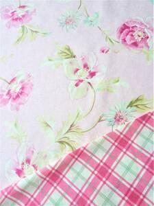 花柄 ピンク & USA コットン 変わり タータンチェック チェック リネン はぎれ 布地 生地 インテリア茶箱 パッチワーク カルトナージュに