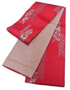浴衣帯 リバーシブル 日本製 156 半巾帯 濃ピンク系/矢絣 袷帯 ゆかた帯 半幅帯 両面帯 小袋帯 袴下帯