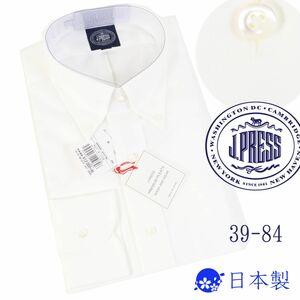 q806a 新品 1.3万 ジェイプレイス プレミアム ピンオックス BDシャツ J.PRESS 長袖 ボタンダウン ドレスシャツ Jプレス 日本製 白 39-84 M