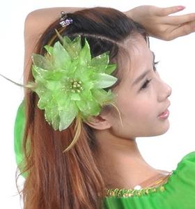 コサージュ 羽根 フェザー レース ヘッドドレス【グリーン】 ヘアアクセサリー 髪飾り 和風 浴衣 結婚式 ダンス衣装にぴったり緑 cyo167