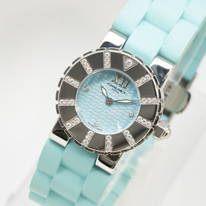 質イコー [ショーメ] CHAUMET 腕時計 クラスワン ダイヤベゼル ブルー ラバー 621-2126 レディース 中古美品