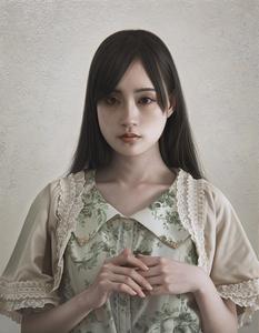 ★真作◆岡靖知 「沈黙の偶像」 油彩 F6号