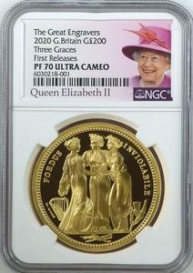 女王ラベル 最高鑑定 2020年 ロイヤルミント スリーグレイセス 200ポンド 2オンス プルーフ金貨 PF70 ULTRA CAMEO First Releases イギリス