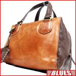 即決★genten★レザーハンドバッグ ゲンテン メンズ 茶 本革 トートバッグ 本皮 かばん 鞄 レディース ミニボストンバッグ