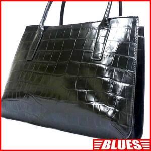 即決★ADC★レザーハンドバッグ エーディーシー メンズ 黒 クロコ型押し 本革 トートバッグ 本皮 かばん 鞄 レディース 手提げかばん
