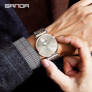 【中古売ります】【最安値に挑戦】三田高級ステンレス鋼メンズ腕時計ファッションメンズビジネスクオーツ防水腕時計レロジオfeminino P1021