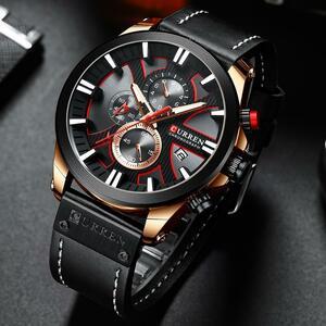 【中古品販売】【安く買えます!】高級メンズ腕時計ファッションクロノグラフスポーツクォーツ腕時計CURREN腕時計日リロイ Hombre 発光手