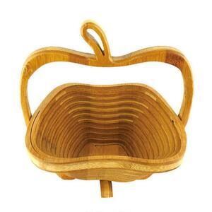 【中古売ります】【最安値に挑戦】折りたたみフルーツバスケット 収納ストレージ竹バスケットラック拡張可能な折り畳み式キッチン用品