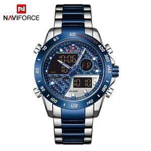 【中古品販売】【安く買えます!】Naviforce 男性腕時計30 メートル防水ミリタリースポーツクォーツステンレス鋼ledデジタル時計レロジオ m