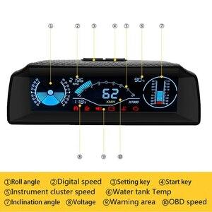 AUTOOL X90 ボードコンピュータヘッドアップディスプレイ HUD OBD2 車スピードメータースロープメーターコードクリア傾斜計コンパスカーエ