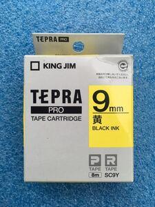 キングジム KING JIM SC9Y [テプラPROテープカートリッジ 9mm 黄 BLACK INK] 黄地に黒文字で印字されます。 未使用品 《送料無料》