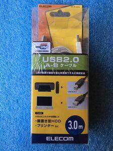 エレコム ELECOM U2C-BN30WH [USB2.0ケーブル A-B 3m ホワイト] 未使用品 《送料無料》