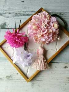 【Y173】髪飾り コサージュ 4点セット ★ライトピンク 結婚式 成人式 卒業式 入学式