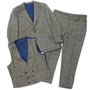美品◆Cifonelli チフォネリ カシミヤ混ウール シングル スーツ スリーピース 1Bジャケット ベスト パンツ サスペンダー 54 グレー メンズ