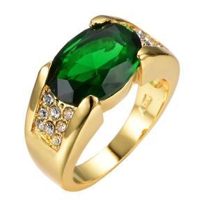 新品★ 高級男性女性ビッググリーンストーンリングゴージャスなイエローゴールドリングヴィンテージ結婚指輪男性と女性