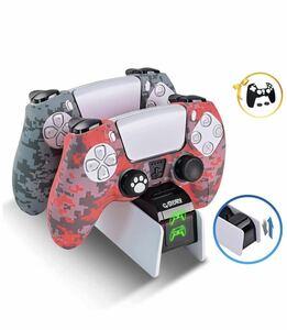 PS5充電スタンド コントローラー 充電器 急速充電 カバー付き状態2台同時充電可能 指示ランプ付き 過充電防止 オリジナルデザイン